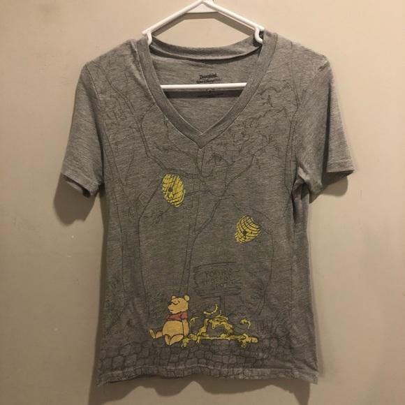 Disney Tops - Disney Winnie the Pooh all over print t shirt gray